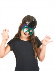 Meia máscara com lantejoulas feiticeira criança Halloween