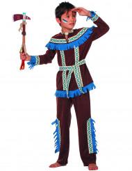 Disfarce índio com franjas azuis menino