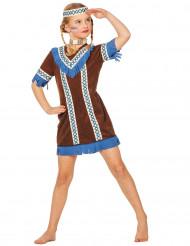 Disfarce índia com franjas azuis menina
