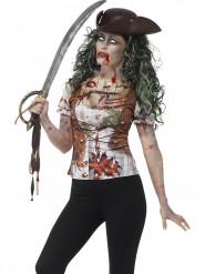 T-shirt pirata zumbi mulher Halloween