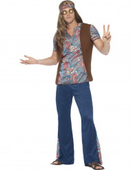 Disfarce hippie peace azul homem
