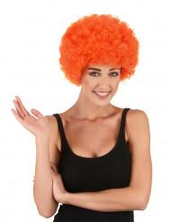 Peruca afro/ palhaço cor de laranja adulto