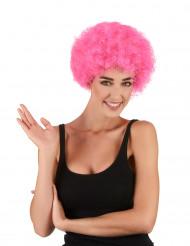 Peruca afro/ palhaço cor-de-rosa adulto