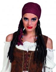 Peruca pirata com bandana bordeaux para mulher