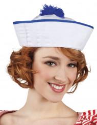 Chapéu marinheiro pompom azul mulher
