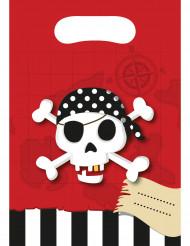 6 Sacos de festa Mapa do tesouro- Pirata