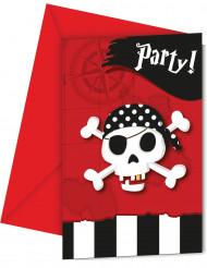 6 convites com envelopes Mapa do tesouro- Pirata