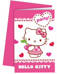 6 Convites Hello Kitty™ com envelopes.