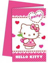 6 Convites Hello Kitty™ com envelopes.