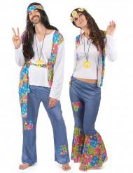 Disfarce de casal hippie colorido adulto