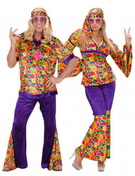 Disfarce de casal hippie florido adulto