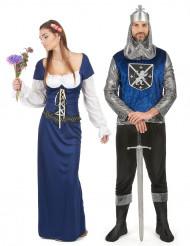 Disfarce de casal medieval azul adulto