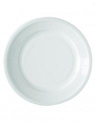 50 Pratos brancos de plástico