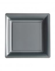 12 Pratos pequenos quadrados em plástico cinzento