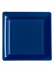 12 Pratos quadrados azuis