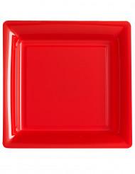 12 Pratos quadrados vermelhos