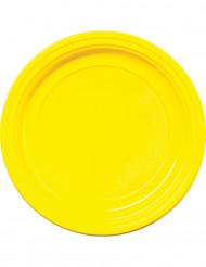 30 Pratos amarelos de plástico