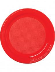 30 Pratos de plástico vermelho