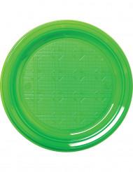30 Pratos verdes de plástico