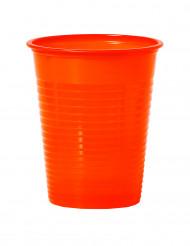 50 Copos cor de laranja de plástico