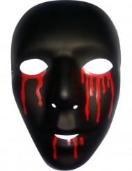 Máscara preta com lágrimas de sangue Halloween homem