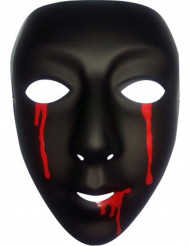 Máscara preta com lágrimas de sangue Halloween