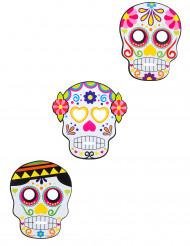 3 Máscaras de cartão Dia de los muertos adulto Halloween