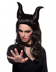 Peruca personagem demoníaca mulher Halloween