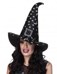 Chapéu de bruxa estrelas prateadas mulher Halloween