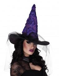 Chapéu de bruxa preto e lilás mulher Halloween