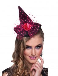 Mini chapéu bruxa cor-de-rosa mulher Halloween