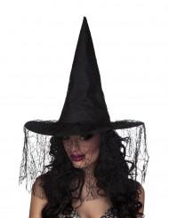 Chapéu de bruxa com véu aranha mulher Halloween