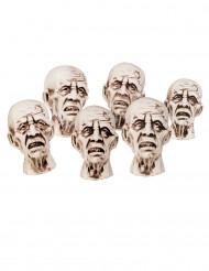6 Pequenas cabeças zombies Halloween