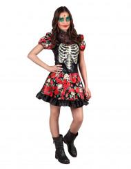 Disfarce esqueleto com rosas adolescente Dia de los Muertos