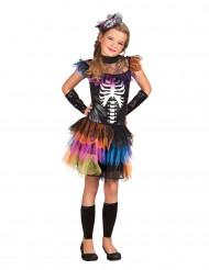 Disfarce esqueleto tutu colorido menina Halloween