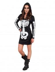 Disfarce esqueleto com capuz adolescente Halloween