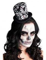 Mini chapéu alto esqueleto mulher Halloween