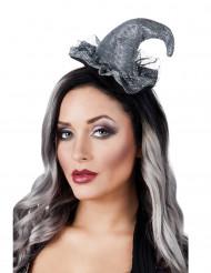 Mini chapéu bruxa prateado mulher Halloween