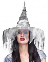 Chapéu de bruxa branco mulher Halloween