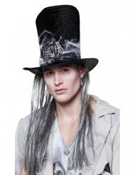 Chapéu alto esqueleto com peruca Halloween