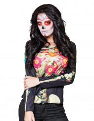 T-shirt mangas compridas esqueleto Dia de los Muertos