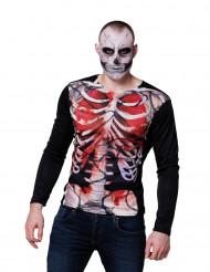 T-shirt mangas compridas esqueleto sangrento homem Halloween