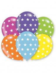 6 balões estrelas coloridas