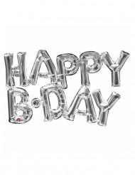 Balão alumínio letras Happy Birthday prateado 76 cm