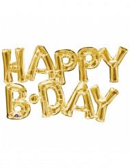 Balão alumínio  letras happy Birthday dourado