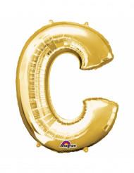 Balão alumínio Letra C dourada 33 cm