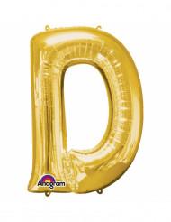 Balão alumínio Letra D dourada 33 cm