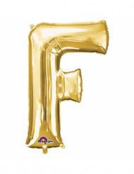 Balão alumínio Letra F dourada 33 cm