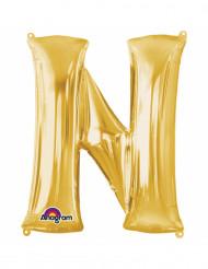 Balão de alumínio Letra N dourada