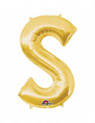 Balão de alumínio Letra S dourada
